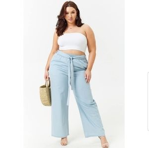 Forever 21 Chambray High Rise wide leg pant Sz XL